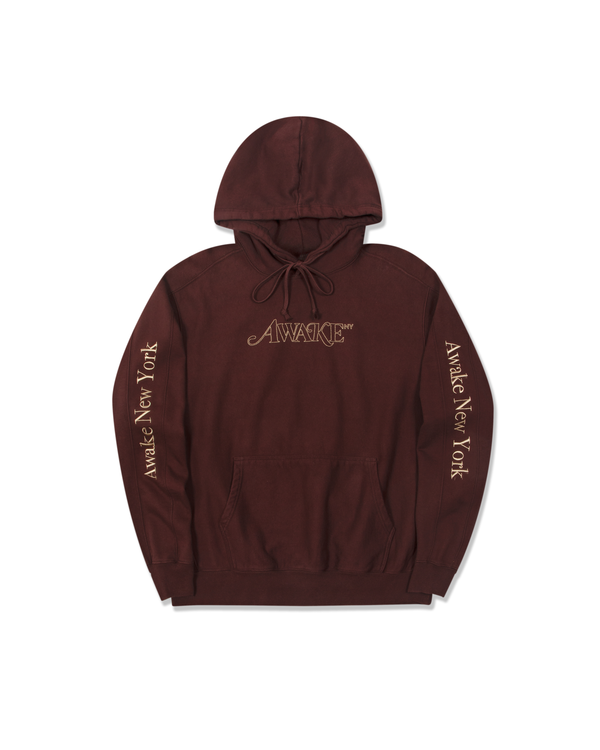 Classic Outline Logo Paneled Embroidered Hoodie - Brown