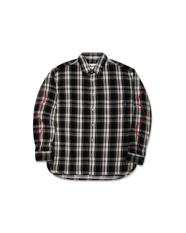Heavyweight Barbed Wire Flannel - Black
