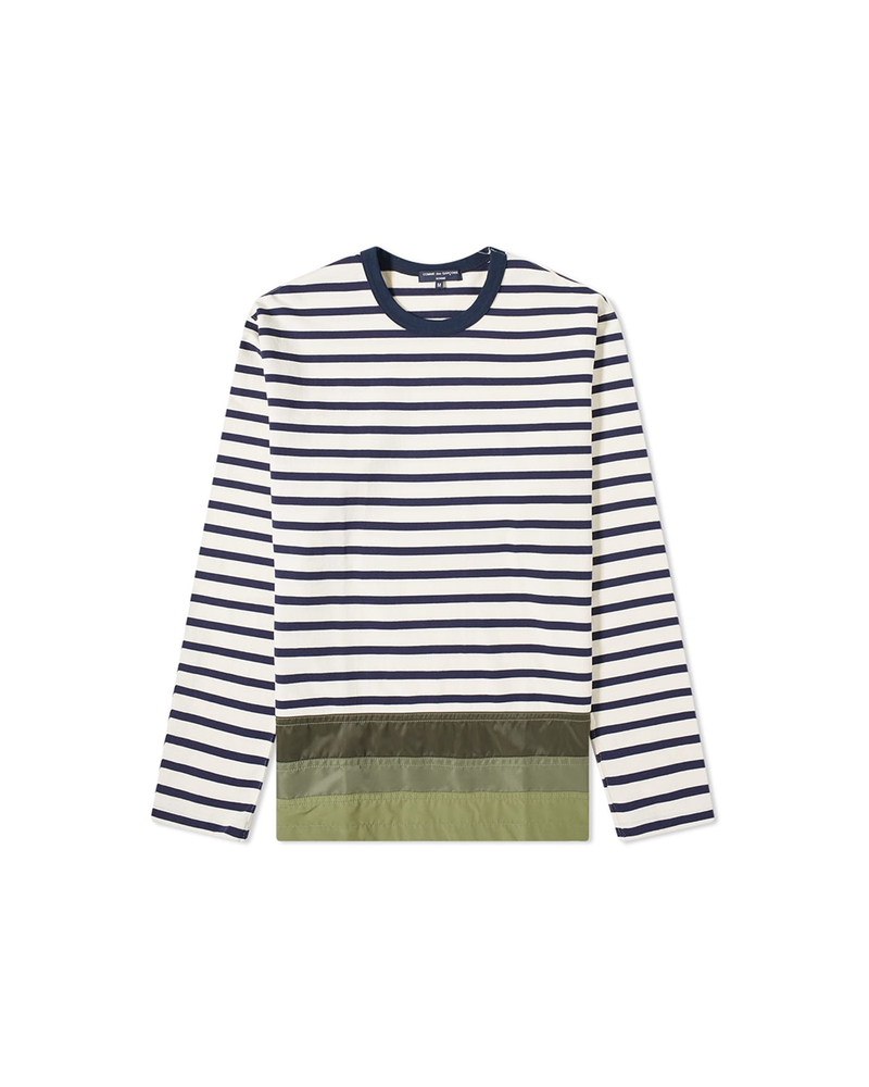 Striped Nylon Panel T-Shirt - White / Blue / Army