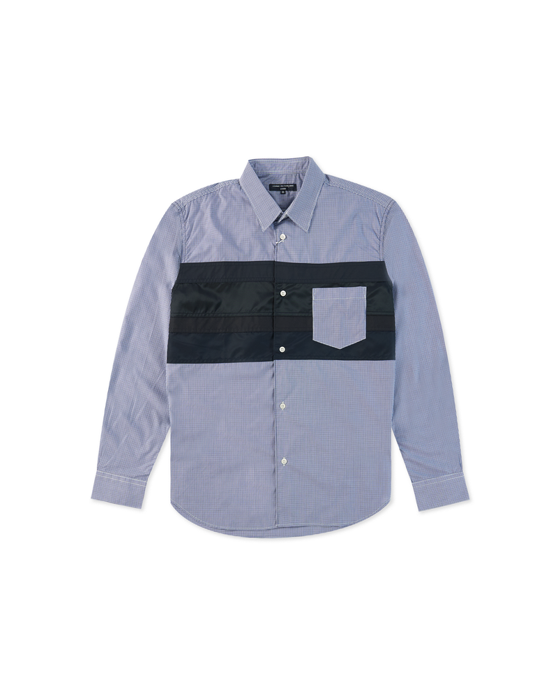 Striped Panel Shirt - Checked / Navy