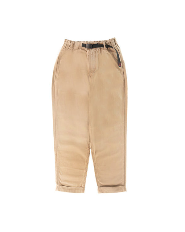 Back Satin Tuck Tapered Pants - Desert