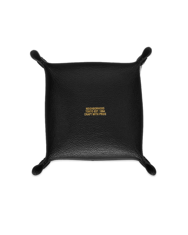 Leather Square Valet Tray - Black