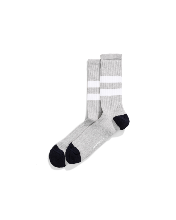 Bjarki Slub Stripe Sock - Light Grey Melange