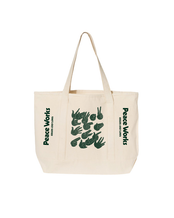 SS21 - PEACE WORKS HEAVY CANVAS OVERSIZED TOTE - NATURAL