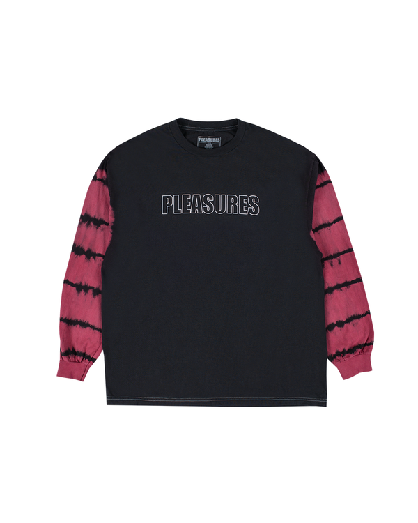 Outline LS T-Shirt - Black / Maroon