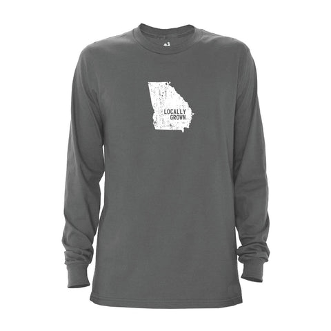 Locally Grown Clothing Co. Men's Georgia Solid State Long Sleeve Crew