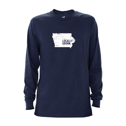 Locally Grown Clothing Co. Men's Iowa Solid State Long Sleeve Crew