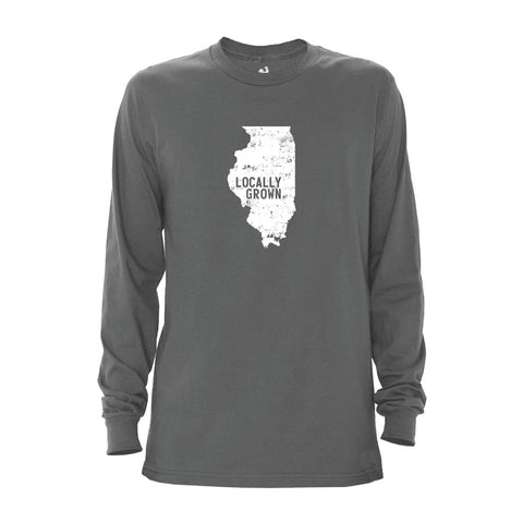 Locally Grown Clothing Co. Men's Illinois Solid State Long Sleeve Crew