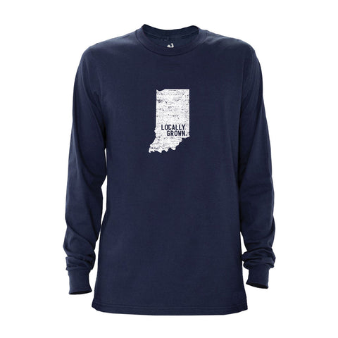 Locally Grown Clothing Co. Men's Indiana Solid State Long Sleeve Crew