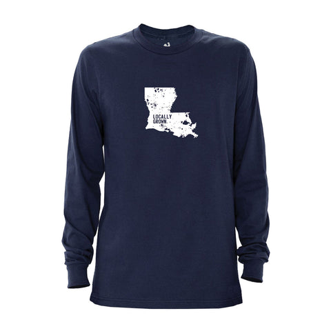 Locally Grown Clothing Co. Men's Louisiana Solid State Long Sleeve Crew