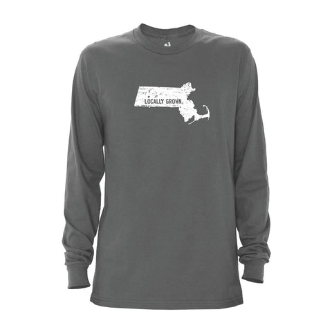 Locally Grown Clothing Co. Men's Massachusetts Solid State Long Sleeve Crew