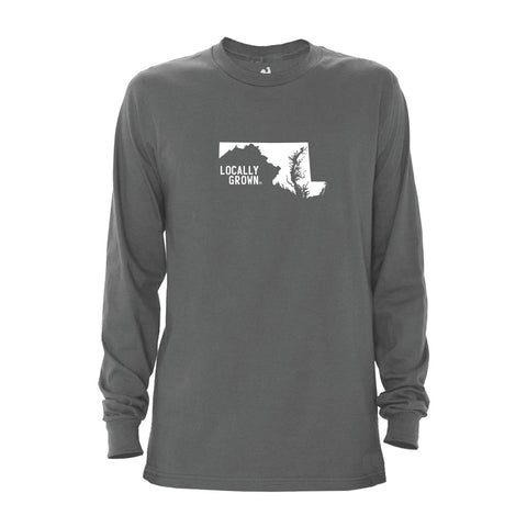 Locally Grown Clothing Co. Men's Maryland Solid State Long Sleeve Crew