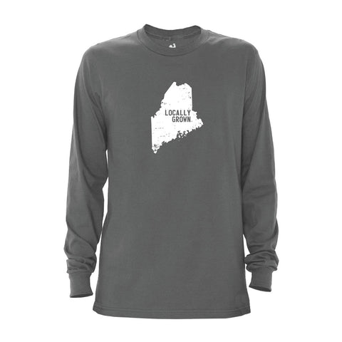 Locally Grown Clothing Co. Men's Maine Solid State Long Sleeve Crew