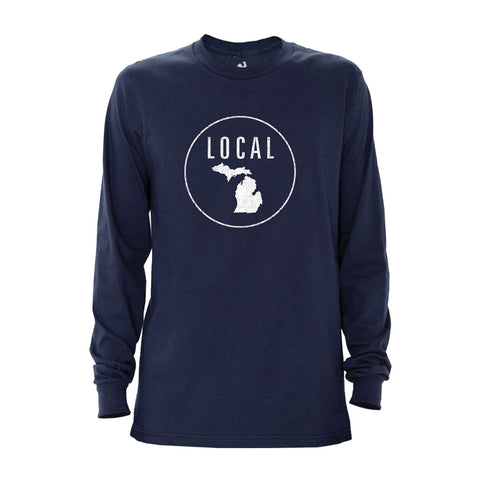Locally Grown Clothing Co. Men's Michigan Local Long Sleeve Crew