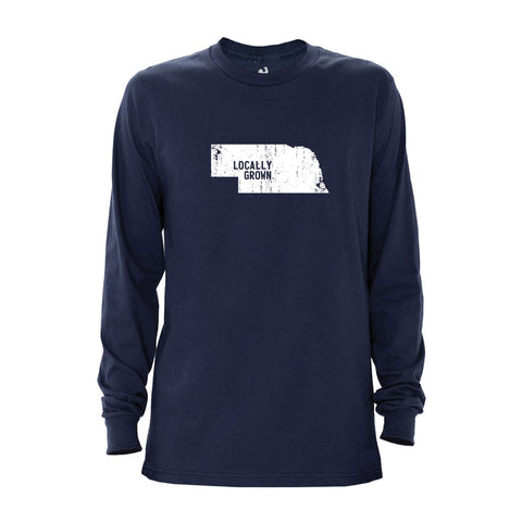 Locally Grown Clothing Co. Men's Nebraska Solid State Long Sleeve