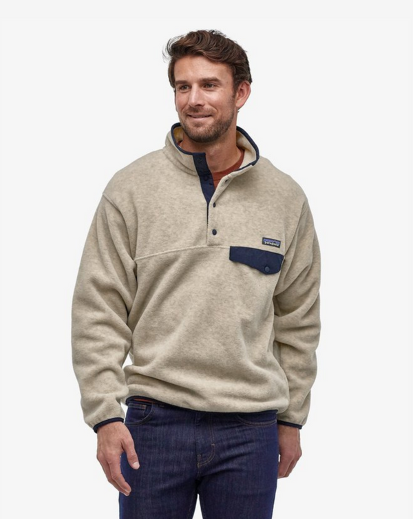 Patagonia - Men's Lightweight Synchilla Snap-T Oatmeal Heather w/ Navy