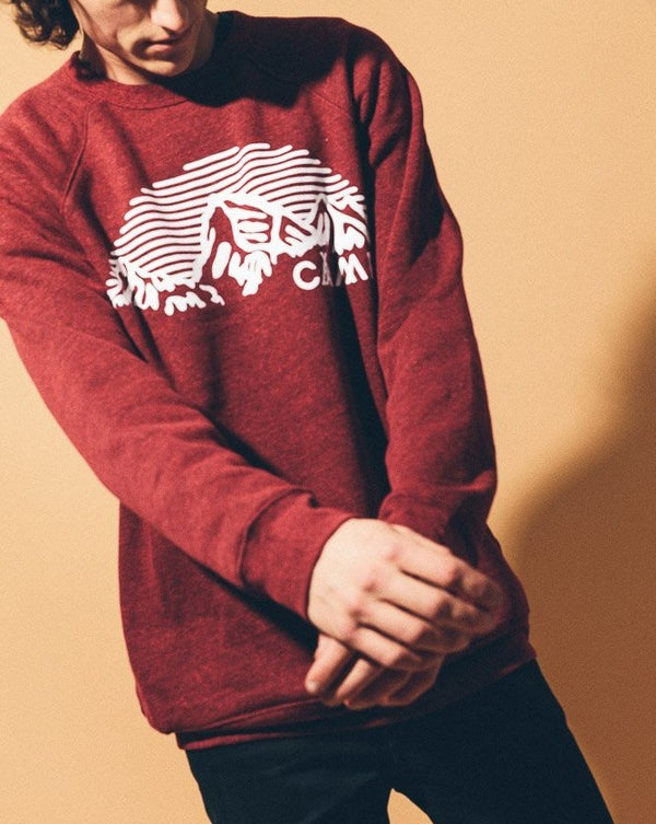 CAMP BRAND GOODS - MOUNTAIN ARCH CREWNECK // TRI RED