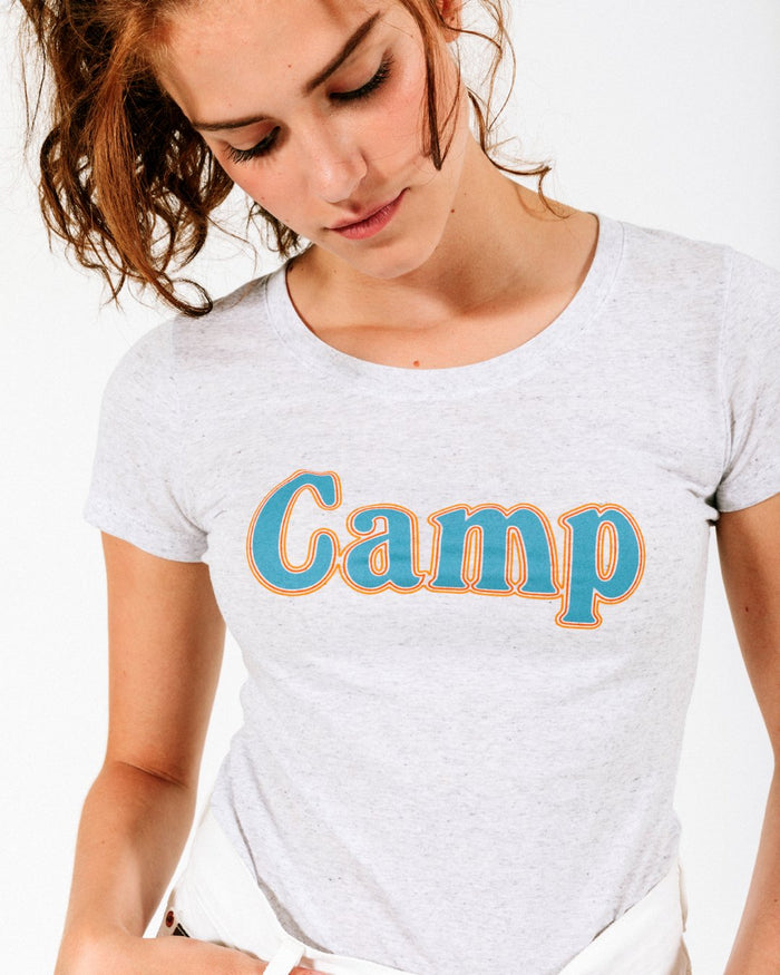 CAMP BRAND GOODS - SUMMER CAMP FITTED T-SHIRT // TRI WHITE FLECK