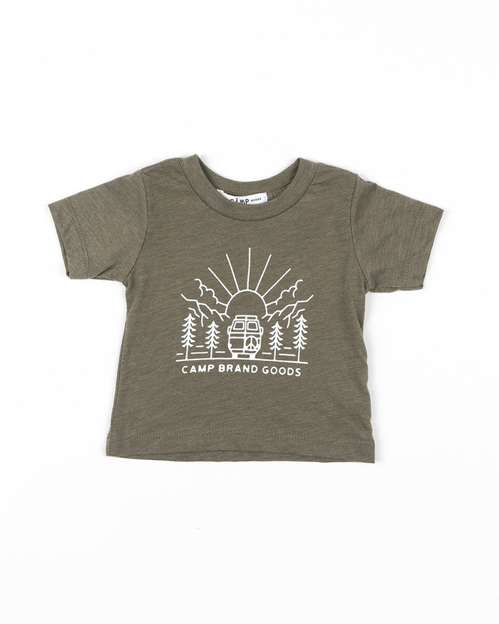 CAMP BRAND GOODS - BABY GOING TO THE SUN T-SHIRT // OLIVE