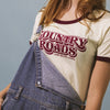 CAMP BRAND GOODS - COUNTRY ROADS RINGER T-SHIRT // NATURAL + MAROON