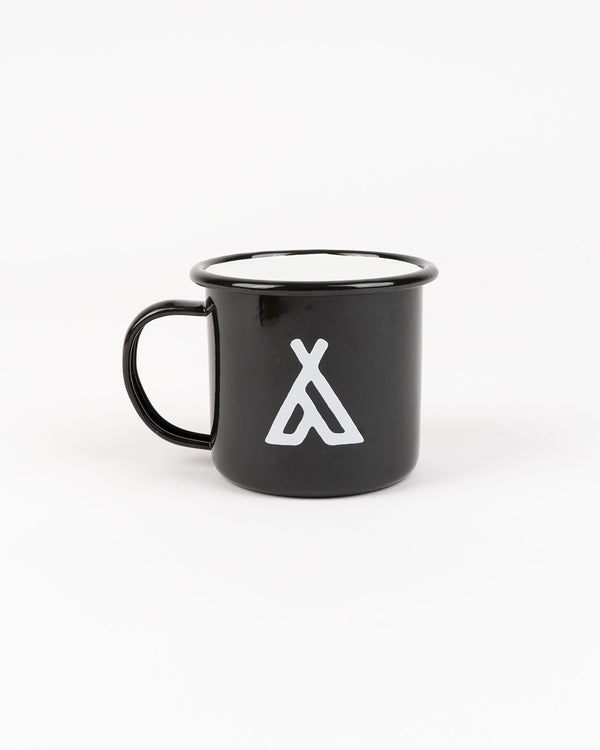 Camp Brand Goods - Campers Logo Enamel Mug 12 Oz // Black
