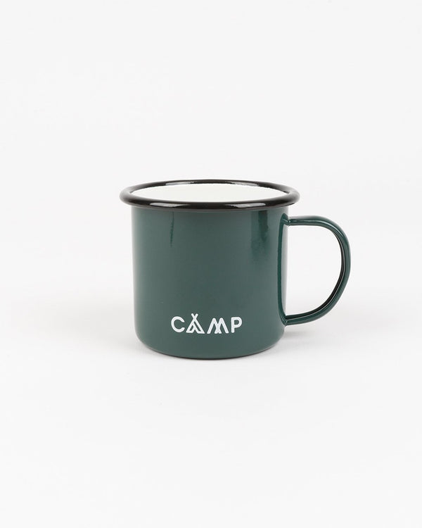SALE - Camp Brand Goods - Campers Logo Enamel Mug 12 Oz // Deep Green