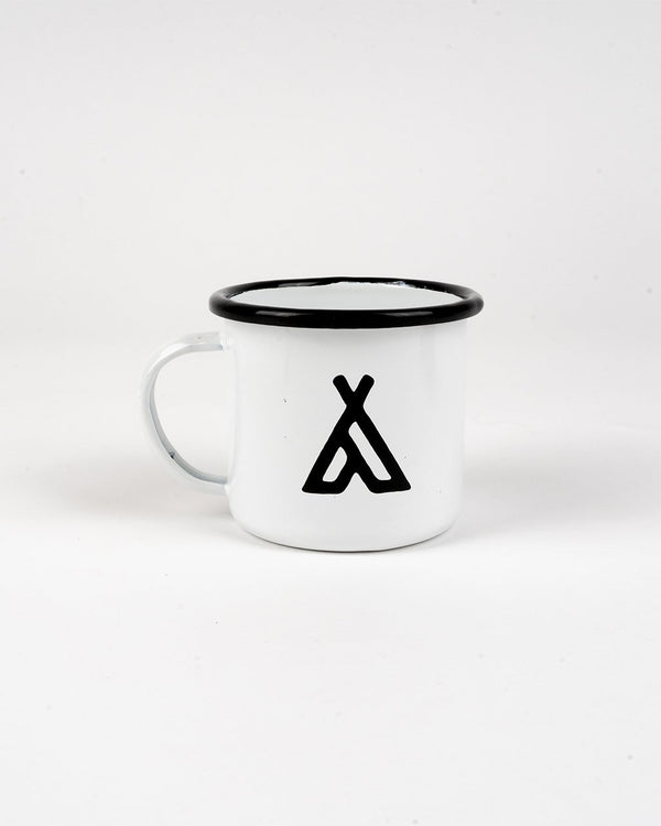SALE - Camp Brand Goods - Campers Logo Enamel Mug 12 Oz // White