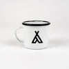 CAMP BRAND GOODS - CAMPERS LOGO ENAMEL MUG 12 OZ // WHITE