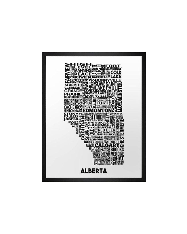 Damon D Chan -  Alberta Cities Map -  11X14 Print