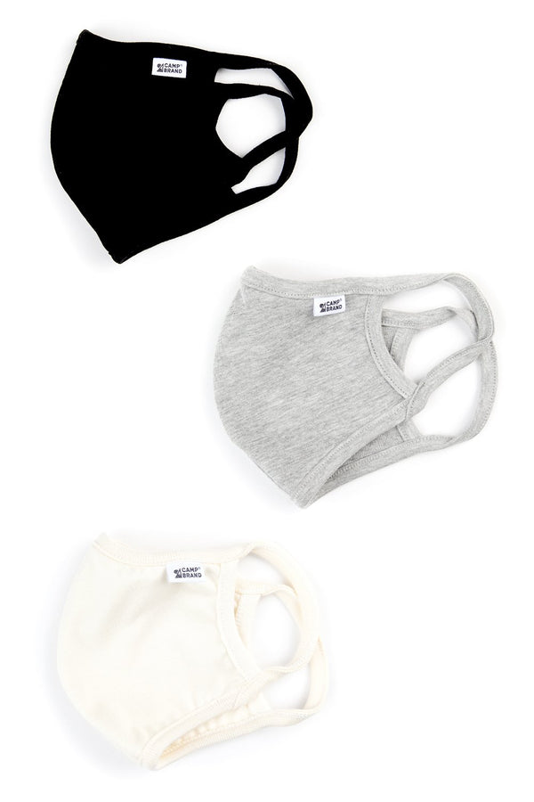 Camp Brand Goods - Face Mask 3 Pack // Black+Grey+Cream