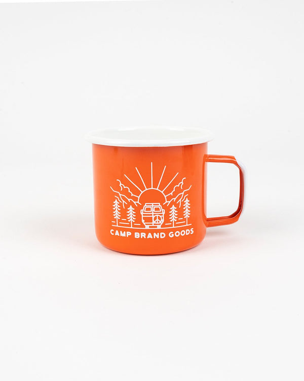 SALE - Camp Brand Goods - Going To The Sun Enamel Mug 16 Oz // Orange