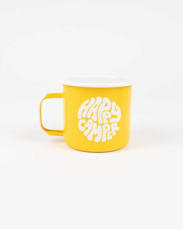 SALE - Camp Brand Goods - Happiest Camper Enamel Mug 16 Oz // Yellow