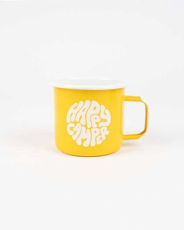 Camp Brand Goods - Happiest Camper Enamel Mug 16 Oz // Yellow