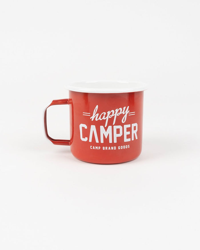CAMP BRAND GOODS - HAPPY CAMPER ENAMEL MUG 16 OZ // FIRE RED