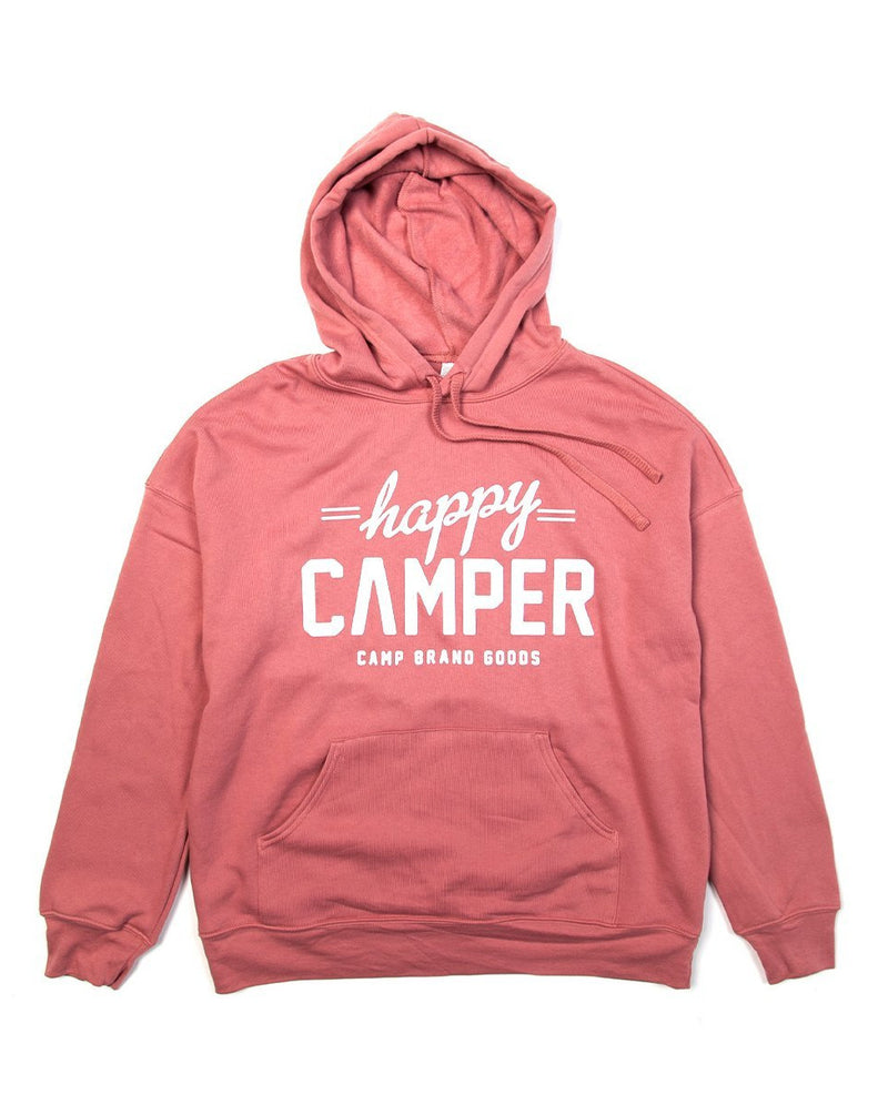 Camp Brand Goods - Happy Camper Hooded Sweatshirt // Mauve