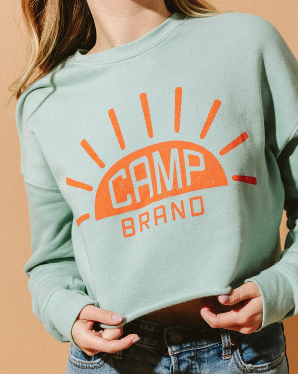 SALE - Camp Brand Goods - Sunrise Cropped Crewneck // Dusty Blue