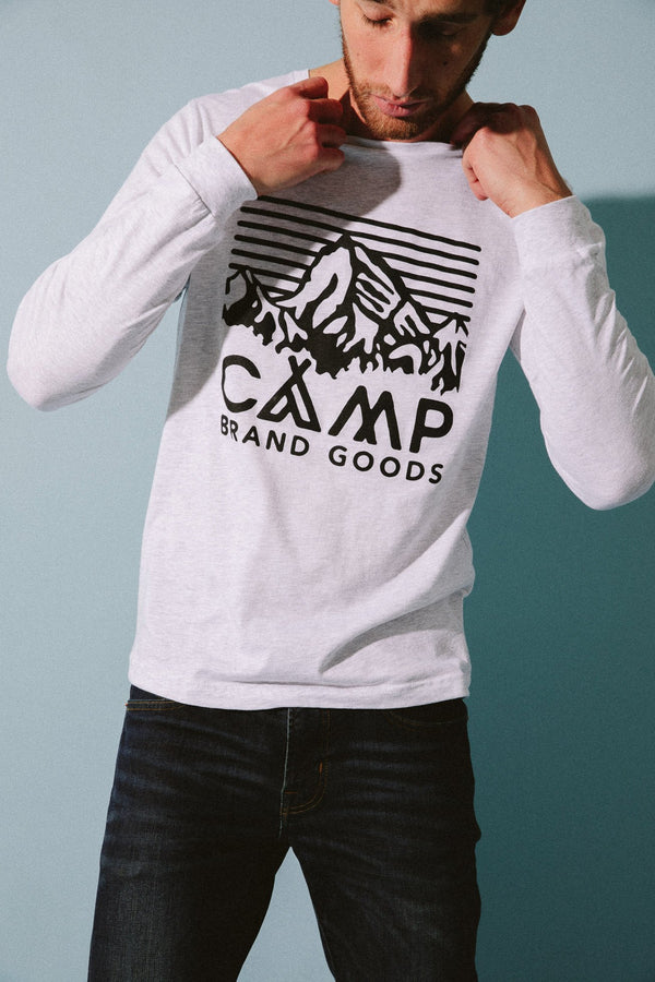 Camp Brand Goods - Heritage Logo Long Sleeve // Athletic Grey