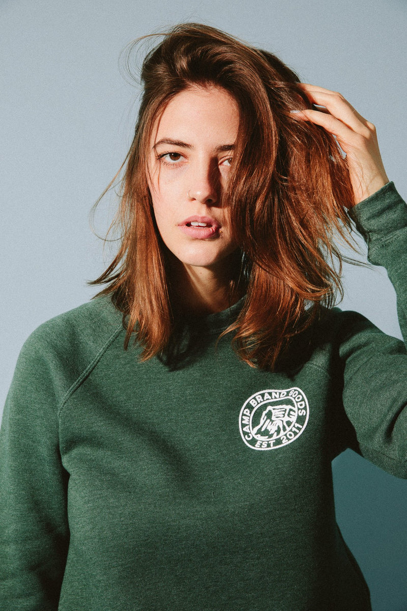Camp Brand Goods - Heritage Crest Crewneck // Emerald Heather