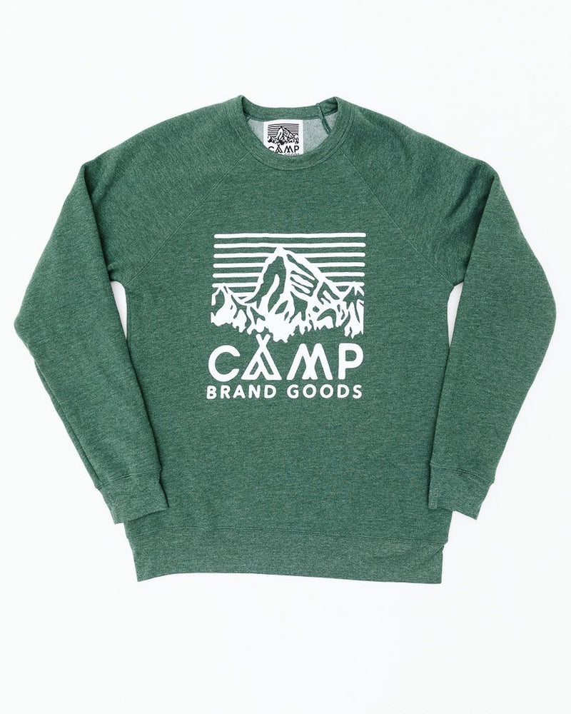 Camp Brand Goods - Heritage Logo Crewneck // Emerald Heather