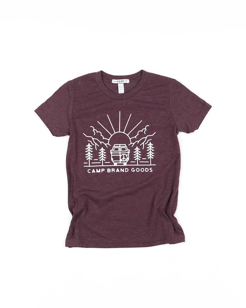 Camp Brand Goods - Kids Going To The Sun T-Shirt // Maroon