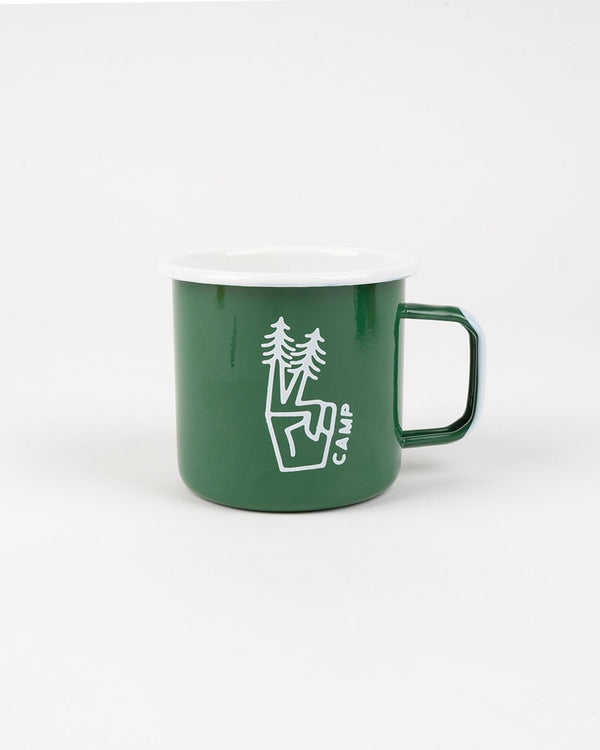 SALE - Camp Brand Goods - Peace Pine Enamel Mug 16 Oz // Forest Green