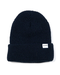 Camp Brand Goods - Wordmark Logo Waffle Toque // Deep Blue
