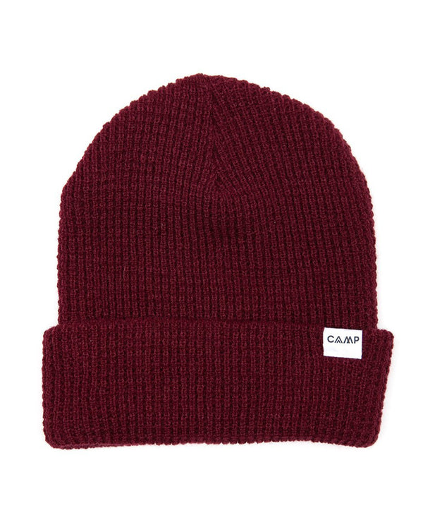 Camp Brand Goods - Wordmark Logo Waffle Toque // Burgundy