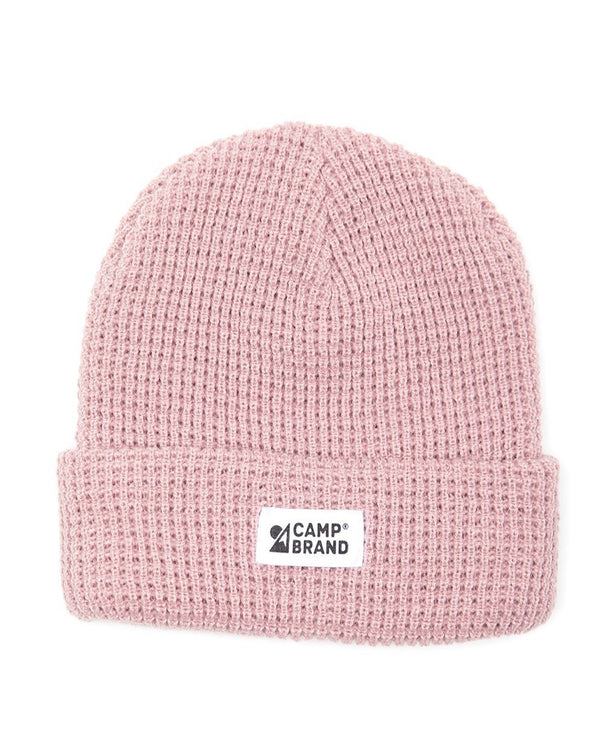 Camp Brand Goods - Mountain Logo Waffle Toque // Pale Rose