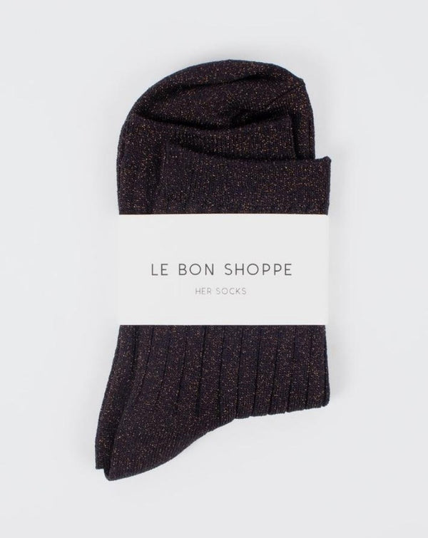 Le Bon Shoppe - Lurex Her Sock - Copper Black