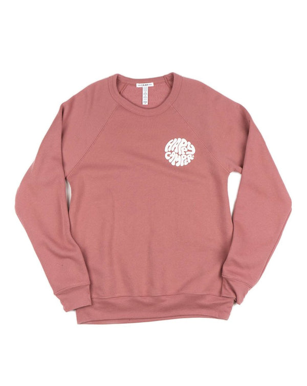 Camp Brand Goods - Happiest Camper Sweatshirt // Heather Mauve