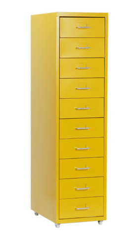 Steel 10 Drawers on Castors (Yellow-Green)