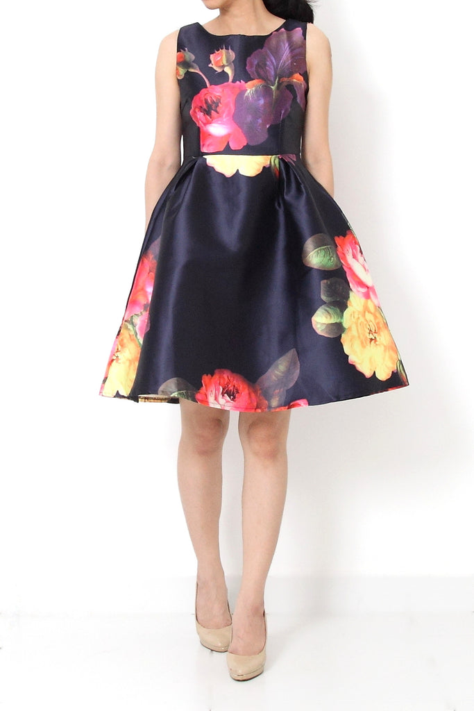 COLE Fit and Flare Floral Satin Dress Blue - S