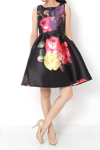 COLE Fit and Flare Floral Satin Dress Black - S