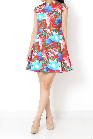 JESS Floral Cheongsam Dress Red - S